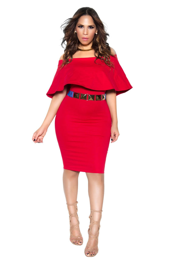 Red Bodycon Off Shoulder Ruffle Frill Midi Dress - MY SEXY STYLES  - 1