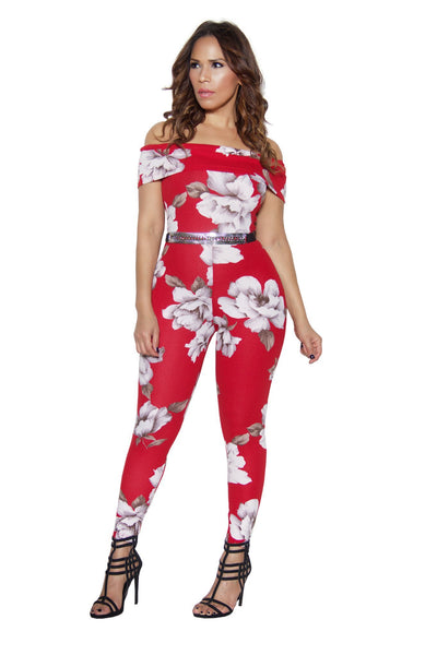 Red Floral Print Off Shoulder Bodycon Jumpsuit - MY SEXY STYLES  - 3