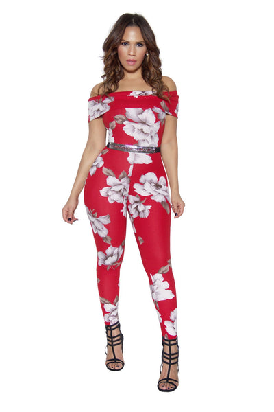 Red Floral Print Off Shoulder Bodycon Jumpsuit - MY SEXY STYLES  - 1