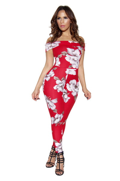 Red Floral Print Off Shoulder Bodycon Jumpsuit - MY SEXY STYLES  - 4