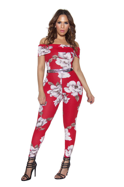 Red Floral Print Off Shoulder Bodycon Jumpsuit - MY SEXY STYLES  - 2