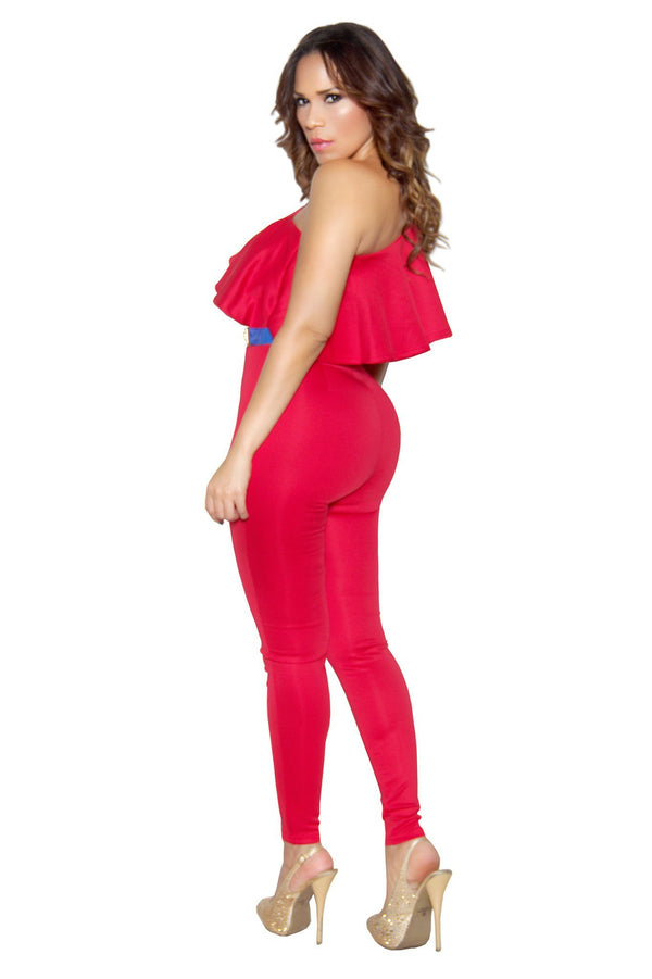 Red Ruffle Frill One Shoulder Bodycon Jumpsuit - MY SEXY STYLES  - 4