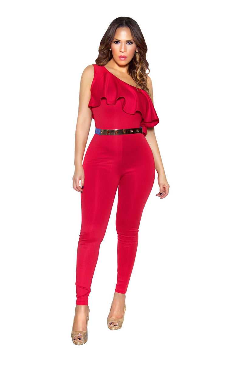 Red Ruffle Frill One Shoulder Bodycon Jumpsuit - MY SEXY STYLES