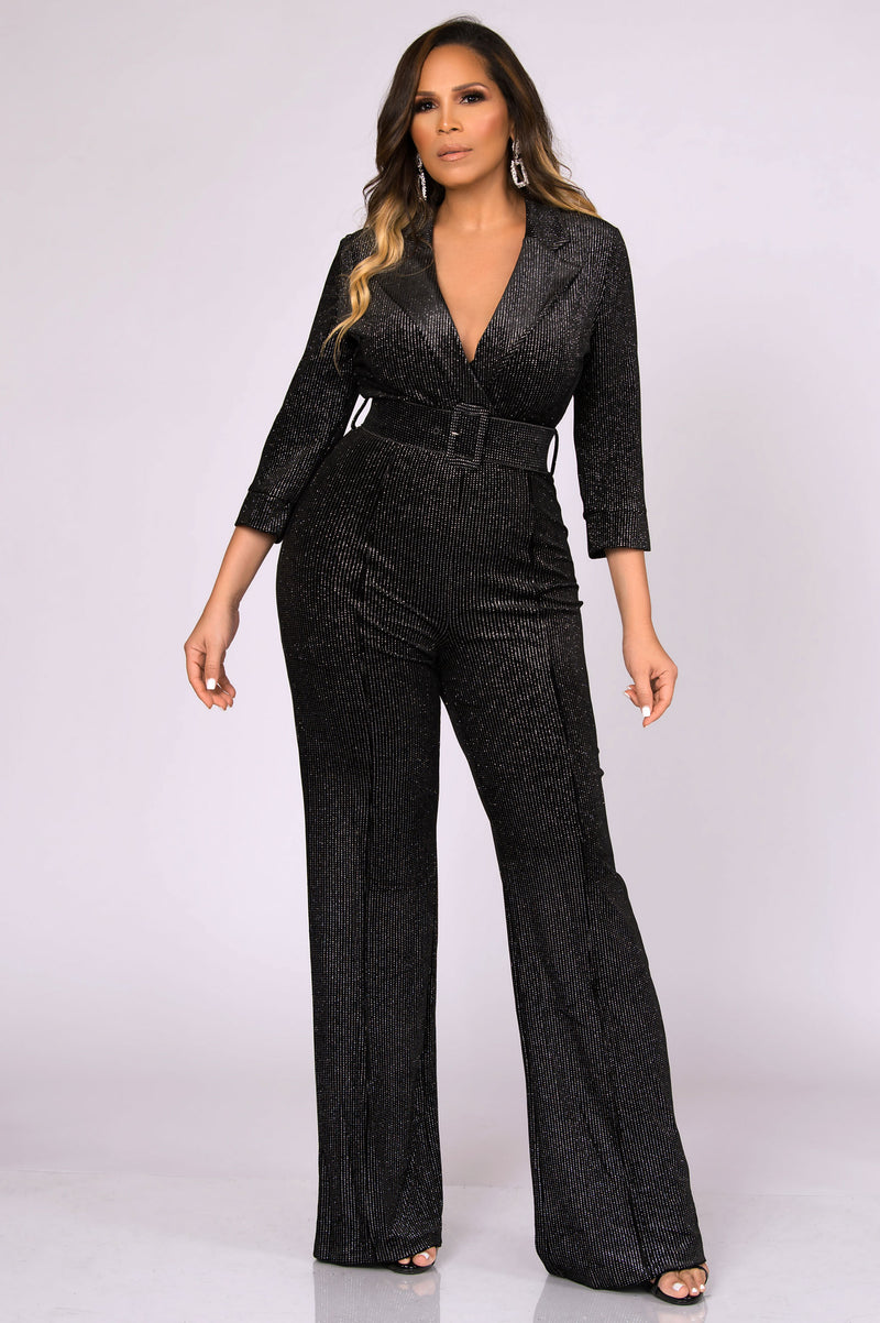 Reese Sophisticated Boutique Belted Jumpsuit
