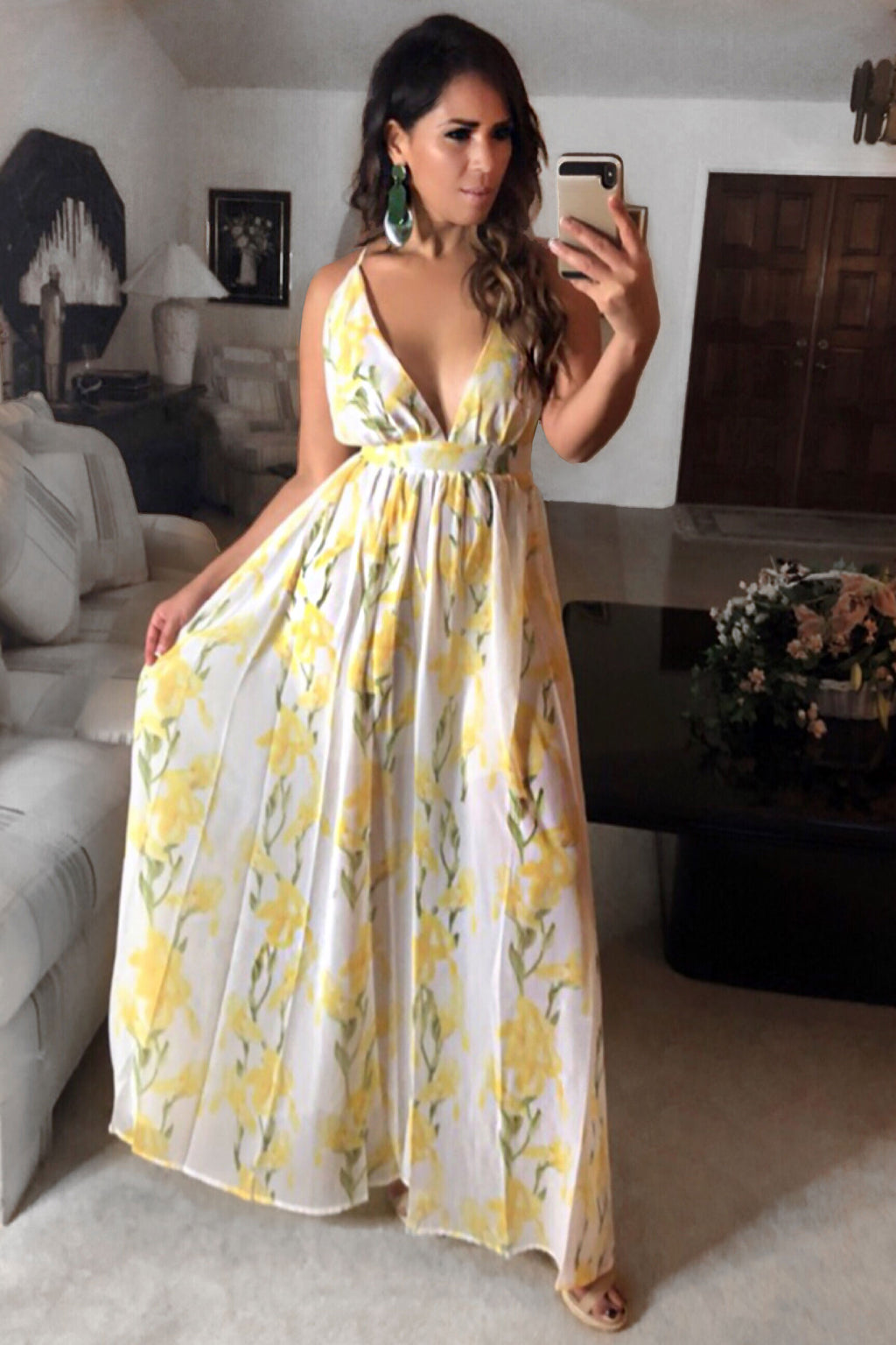Angelina Sexy Sheer Spaghetti Criss Cross Straps Beach Party Maxi Dress - Yellow - MY SEXY STYLES