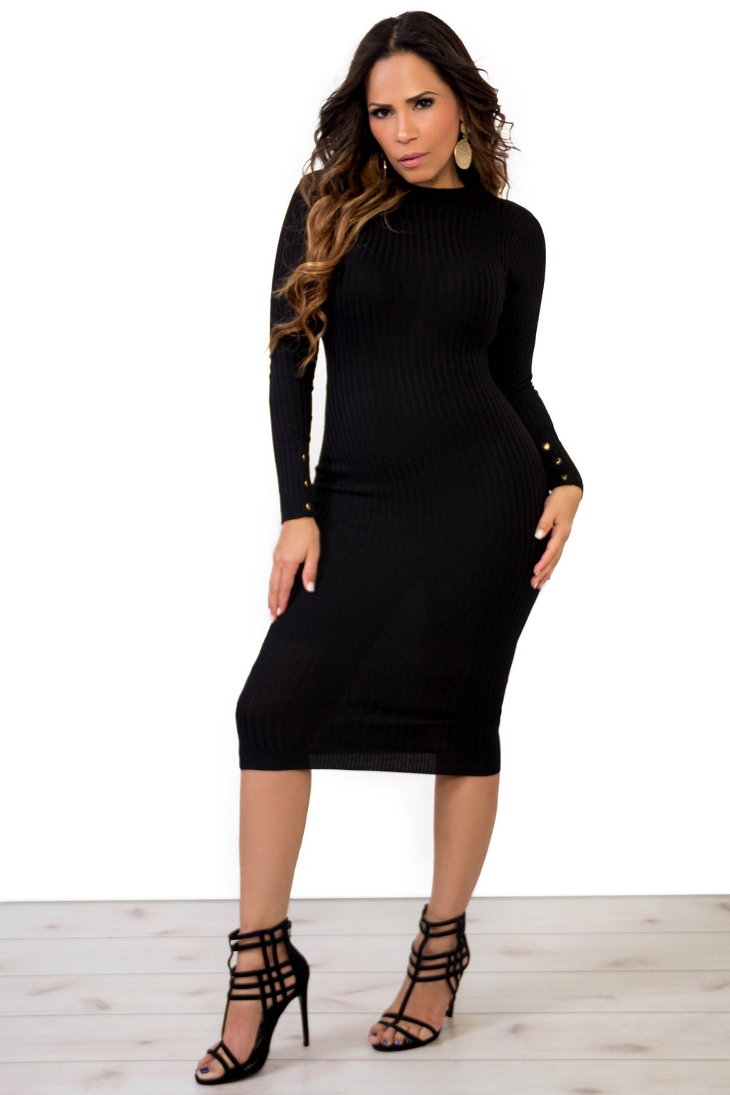 Ribbed Smock Neck Long Sleeves Bodycon Open Back Midi Dress in Black