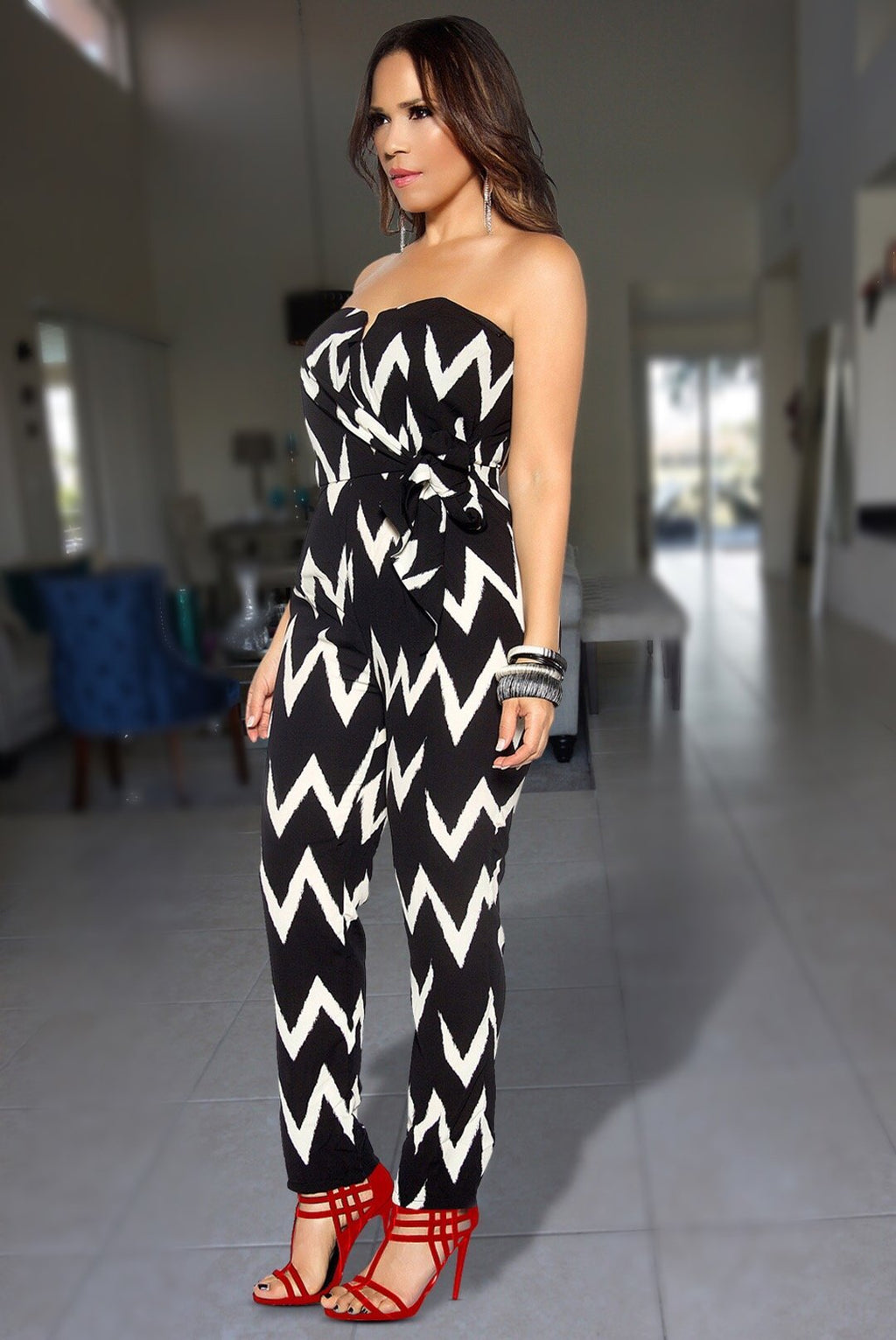 Riley Black Ivory Asymmetric Stripes Strapless Jumpsuit W/ Waist Tie