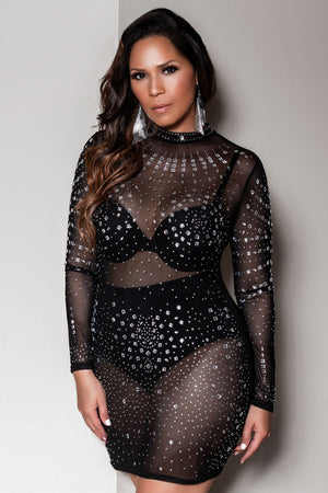 Robin Sexy Studded Mesh See Through Mock Neck Long Sleeve Party Club Mini Dress