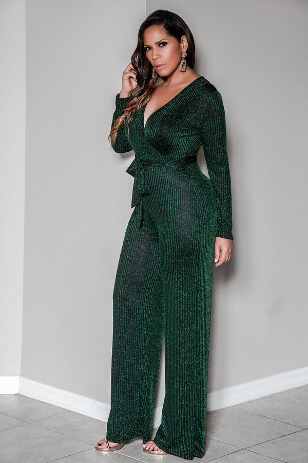 Rory Sexy V Neck Sparkly Long Sleeves Cocktail Jumpsuit with Belt