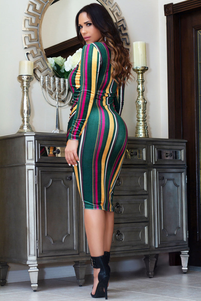Rosalie Striped Velour Bodycon Dress