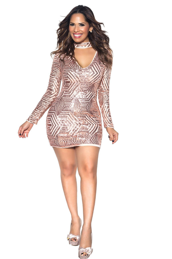 Rose Gold Geometric Sequin V Shape Long Sleeve Bodycon Dress - MY SEXY STYLES  - 1