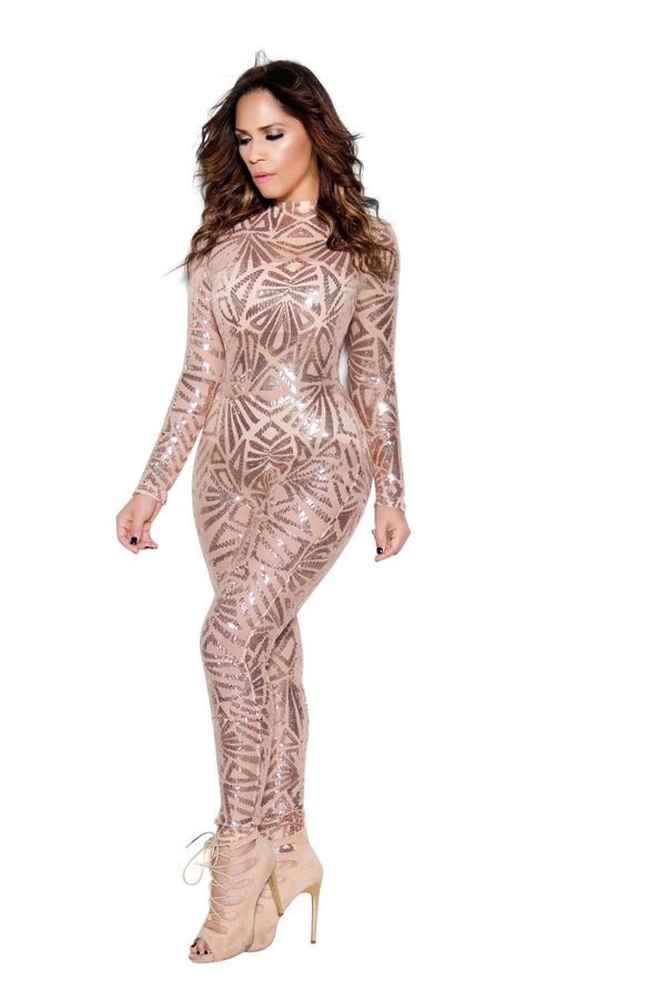 Rose Gold Sequin High Neck Bodycon Jumpsuit - MY SEXY STYLES  - 3