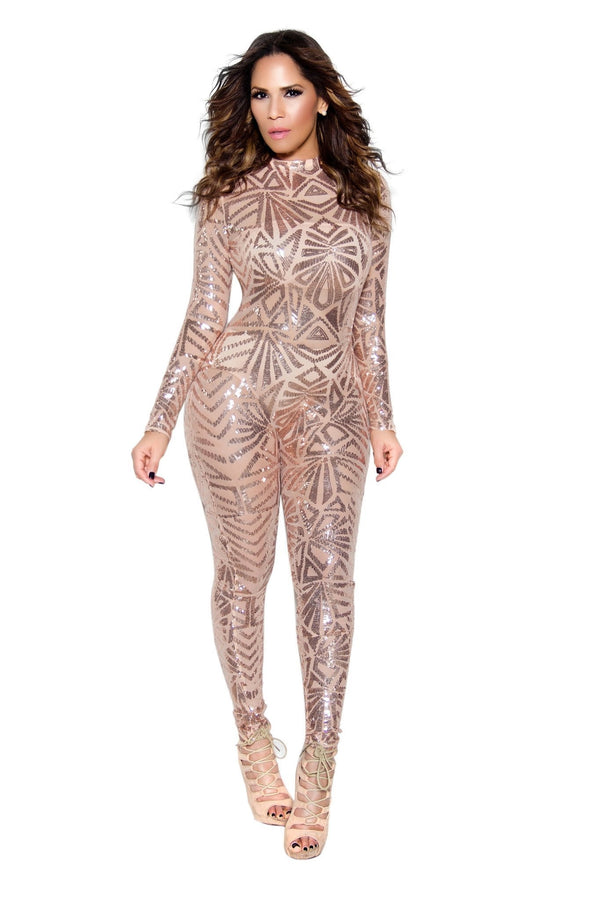 Rose Gold Sequin High Neck Bodycon Jumpsuit - MY SEXY STYLES  - 1