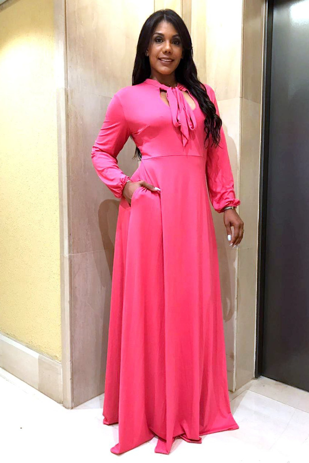 Rose Pink Long Sleeves Bodycon Neck Tie Maxi Plus Size Dress - MY SEXY STYLES