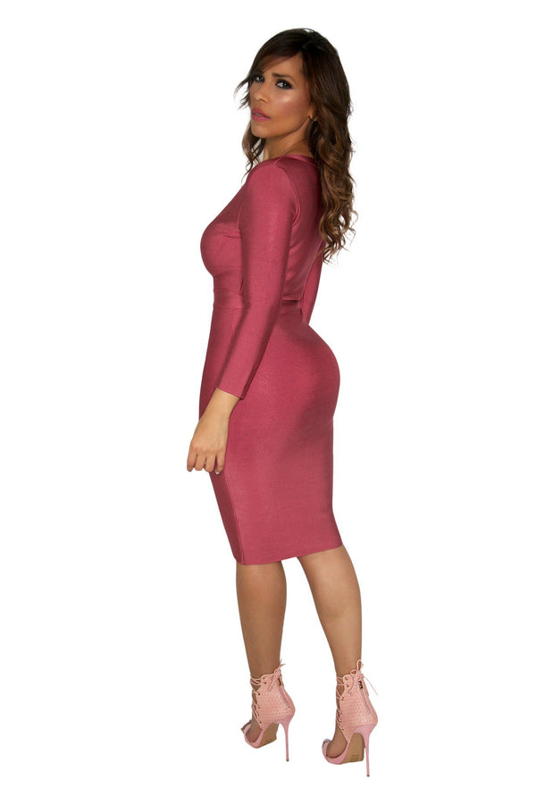 Rose Pink Long Sleeves V-Neck Sexy Bandage Dress - MY SEXY STYLES