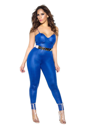 Royal Blue Bustier Bodycon Faux Leather Jumpsuit - MY SEXY STYLES