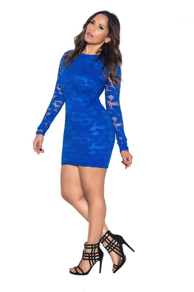 Royal Blue Long Sleeve Lace Bodycon Dress - MY SEXY STYLES  - 2