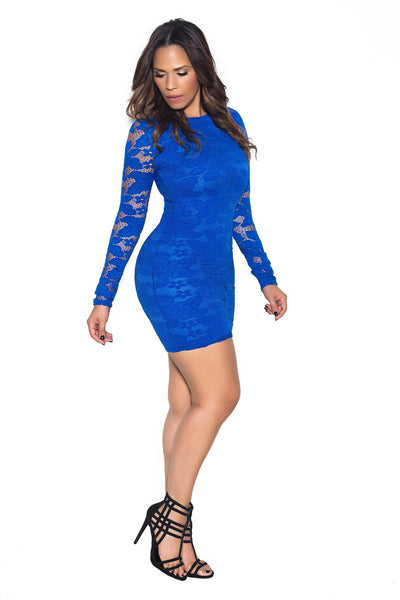 Royal Blue Long Sleeve Lace Bodycon Dress - MY SEXY STYLES  - 3