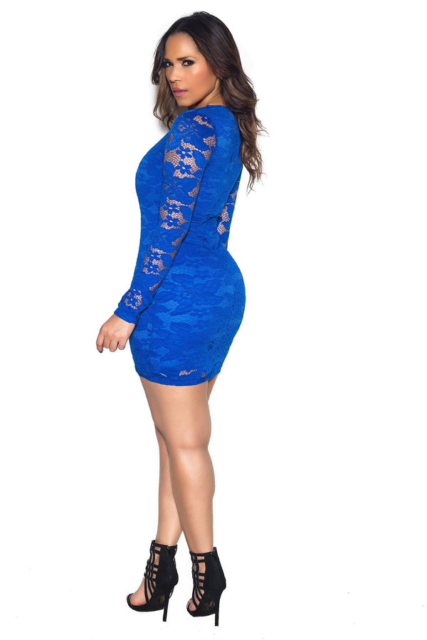Royal Blue Long Sleeve Lace Bodycon Dress - MY SEXY STYLES  - 4