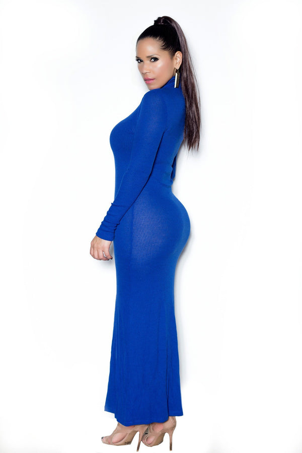 Royal Blue Ribbed Turtle Neck Long Sleeved Maxi Dress - MY SEXY STYLES  - 2