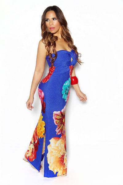 Royal Blue Strapless Floral Print Side Slit Maxi Dress - MY SEXY STYLES