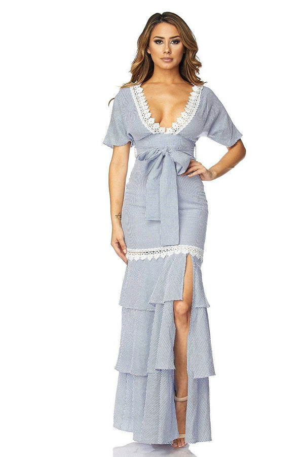 Royal Blue Stripes V-Neck Ruffled Maxi Dress