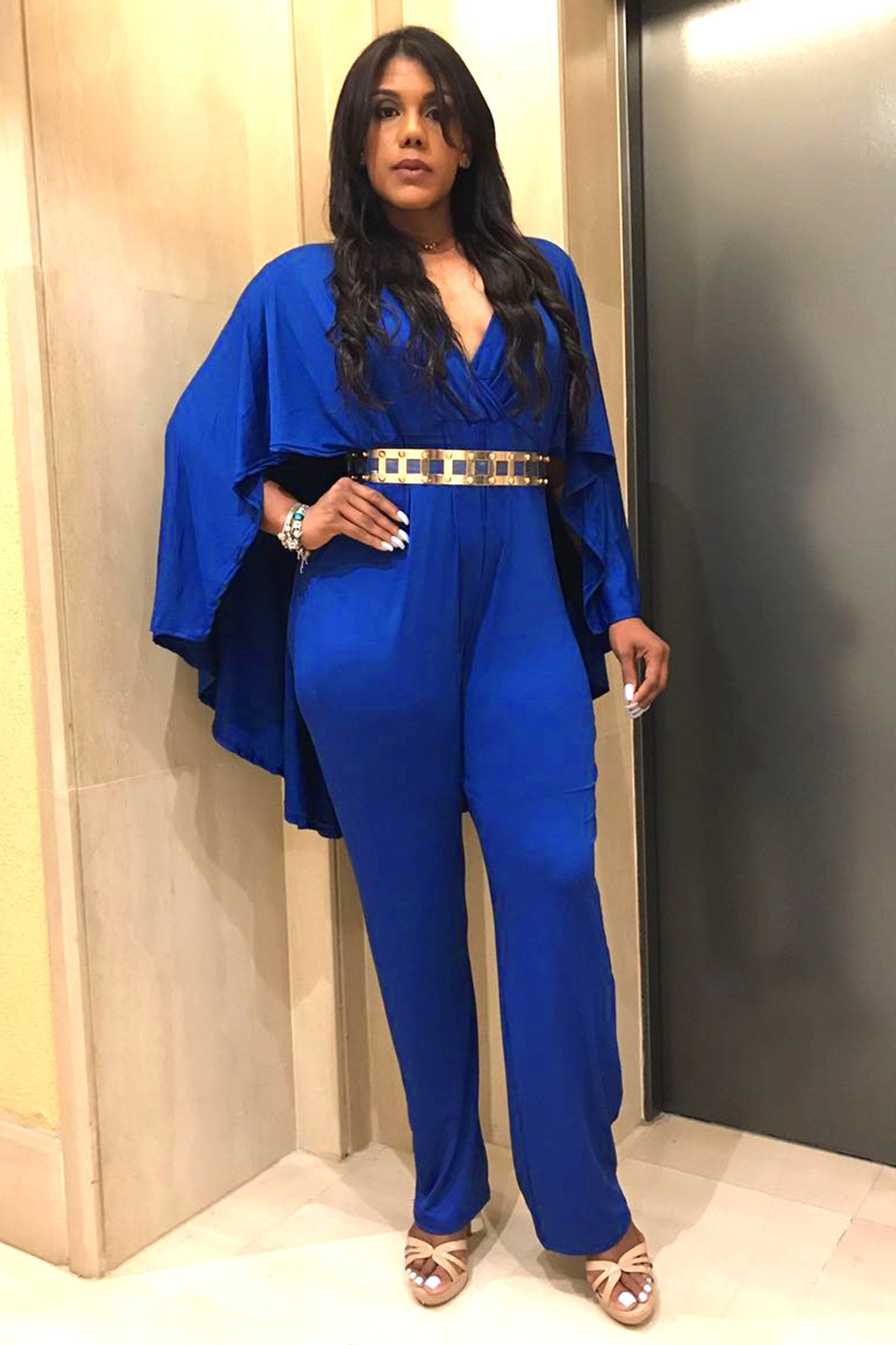Royal Blue V Neck Plus Size Jumpsuit With Attached Flowing Cape My