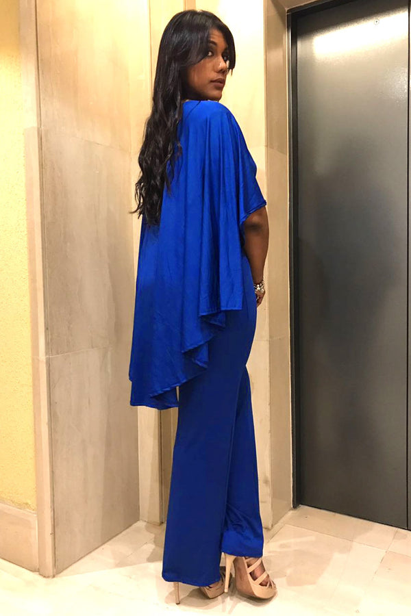 Royal Blue V-Neck Plus Size Jumpsuit with Attached Flowing Cape