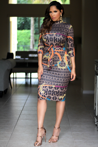 Royalty Chain Print Quarter Sleeves Bodycon Dress W/ Waist Tie