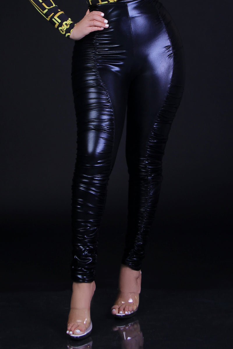 Ruched Faux Leather Pants