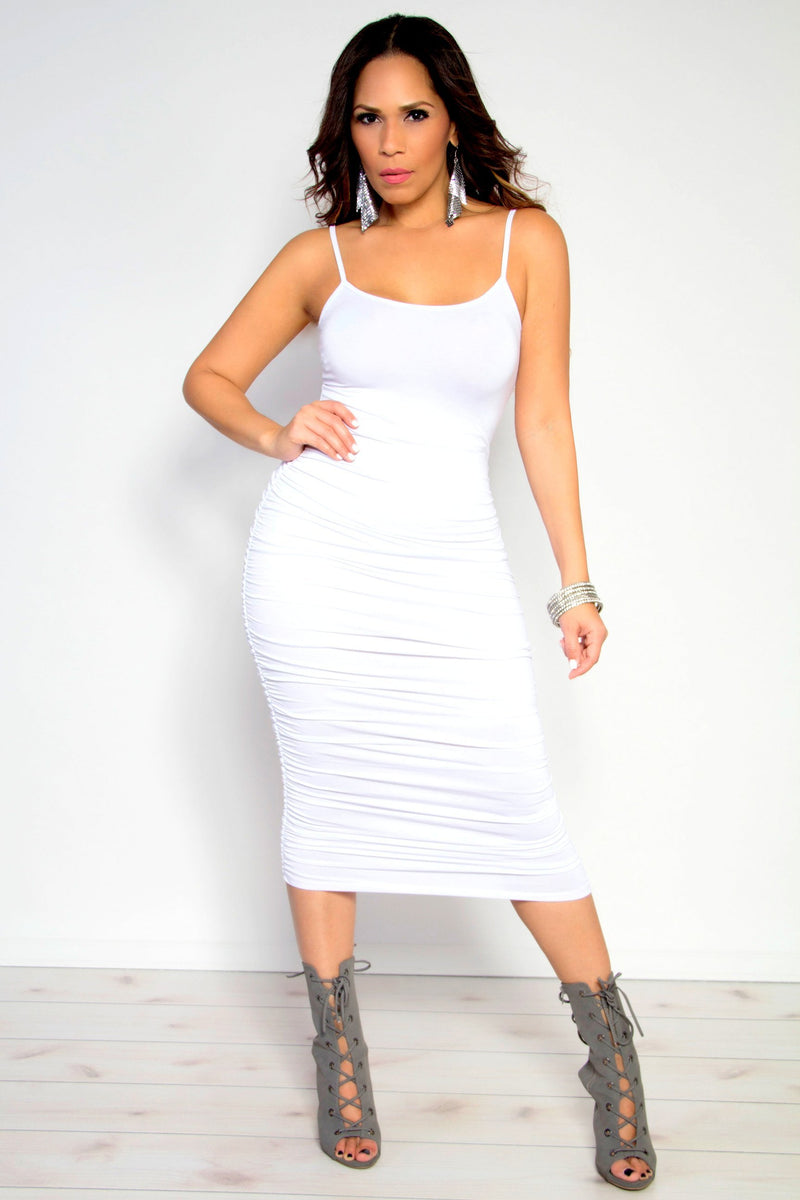 Camila Ruched Spaghetti Strap Solid Midi Dress in Off White - MY SEXY STYLES