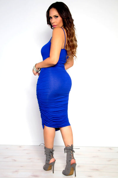 Ruched Spaghetti Strap Solid Midi Dress in Royal Blue