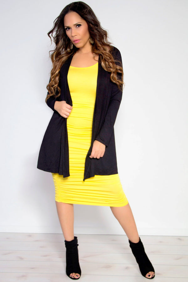 Ruched Spaghetti Strap Solid Midi Dress in Yellow