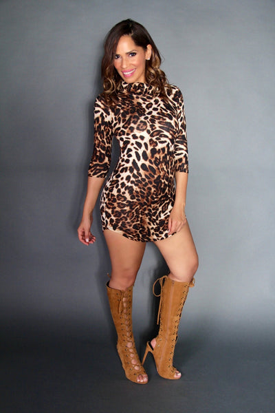 Ruched Turtle Neck Leopard Print Quarter Sleeve Mini Dress - MY SEXY STYLES
