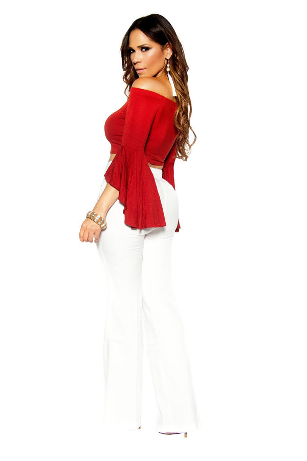 Rust Draped Off Shoulder Bell Sleeve Crop Top