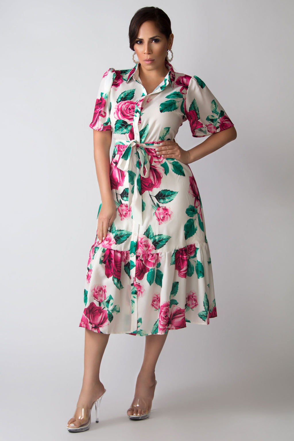 Ruth Bell Sleeves Classy Floral Print Midi Shirt Dress