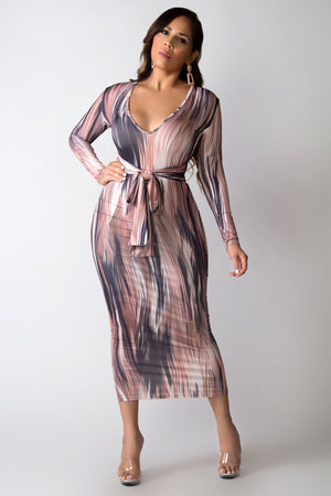 Rylee Abstract Print Long Sleeves V-Neck Bodycon Midi Belted Dress