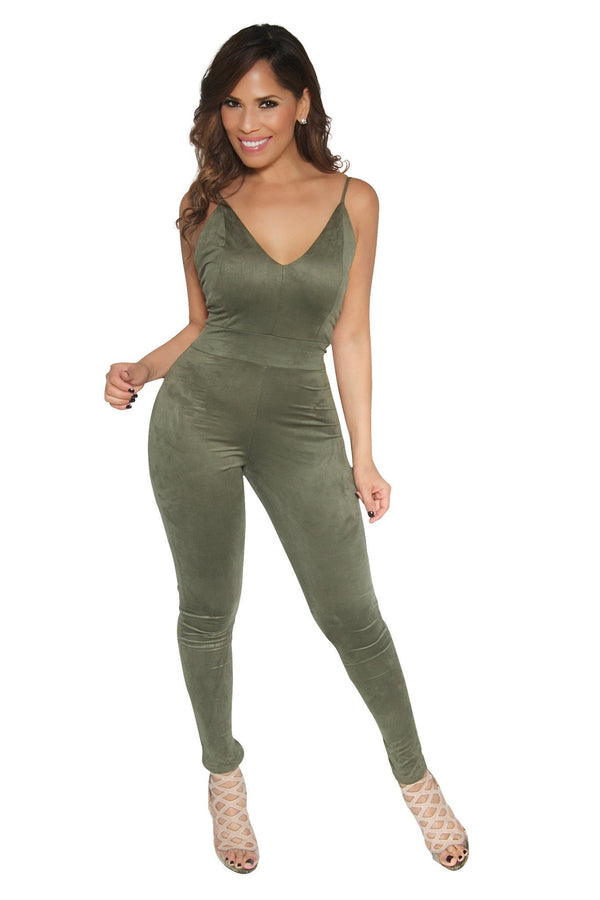 SEXY OLIVE GREEN SUEDE JUMPSUIT - MY SEXY STYLES  - 1