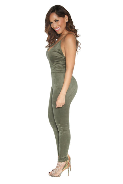 SEXY OLIVE GREEN SUEDE JUMPSUIT - MY SEXY STYLES  - 2