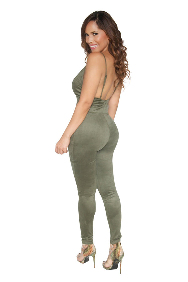 SEXY OLIVE GREEN SUEDE JUMPSUIT - MY SEXY STYLES  - 3