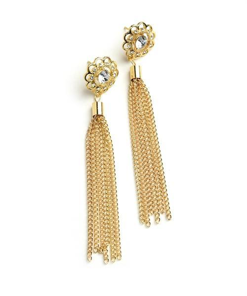 SUN SHAPE MULTI STONE TASSEL DROP EARRINGS