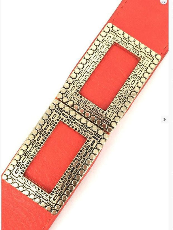 Orange Wide Stretch Vintage Trim Belt - MY SEXY STYLES  - 2