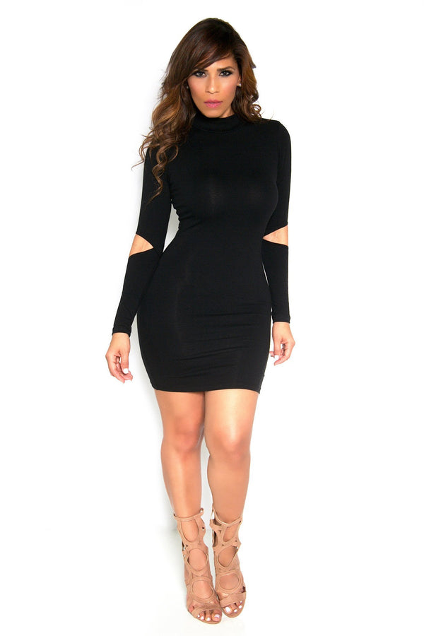 Sexy Black Cutout Long Sleeves Clubbing Mini Dress - MY SEXY STYLES