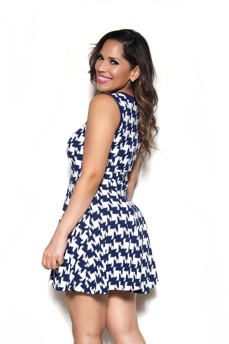 Sexy Blue White HoundTooth Print Dress - MY SEXY STYLES