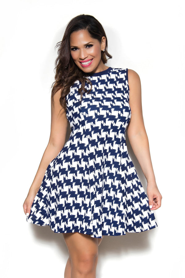 Sexy Blue White HoundTooth Print Dress - MY SEXY STYLES  - 1