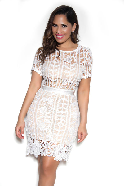 Sexy Cap Sleeves Floral Crochet Lace Cocktail Dress In Ivory - MY SEXY STYLES  - 1