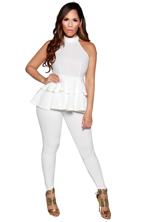 Sexy High Neck Peplum Sleeveless Jumpsuit in Off White