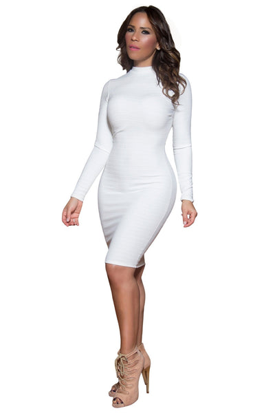 Sexy Ivory High Neck Long Sleeved Bodycon Cocktail Party Midi Dress - MY SEXY STYLES