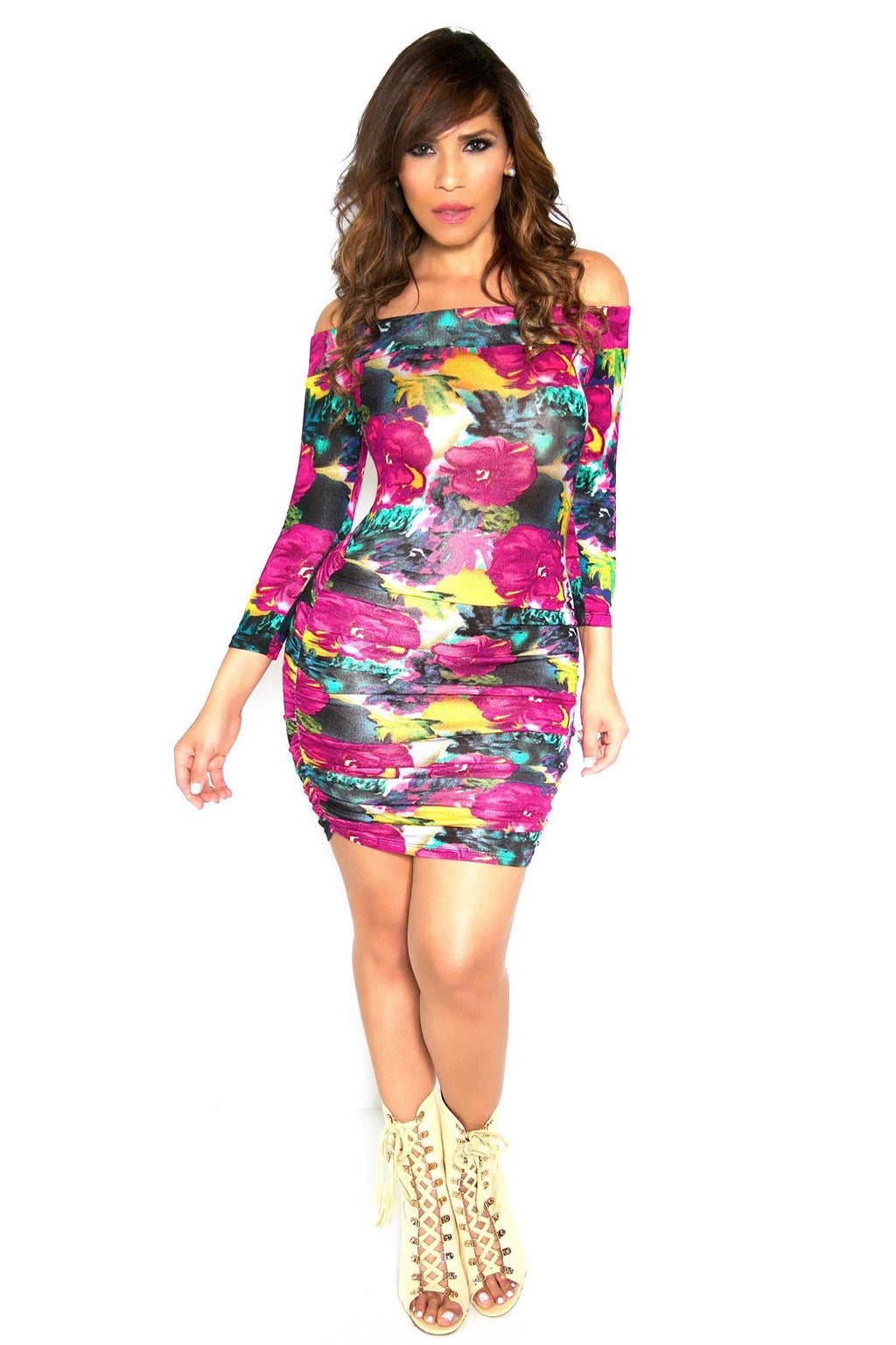 Sexy Off The Shoulders Long Sleeves Magenta Flower Print Dress - MY SEXY STYLES