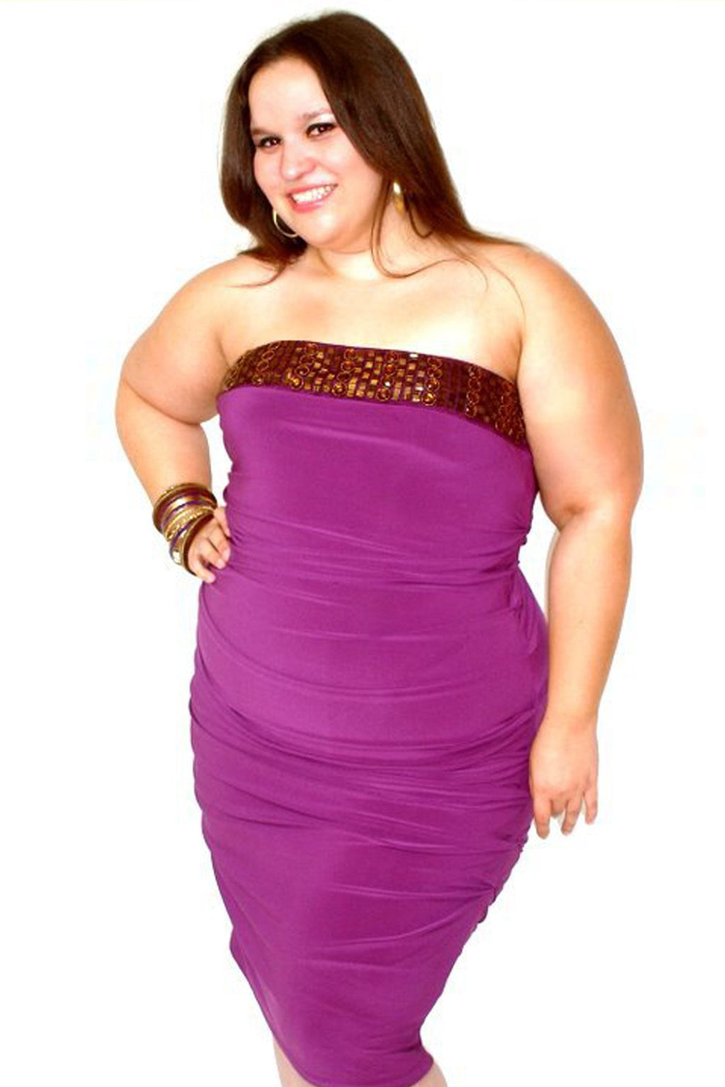 Sexy Purple Strapless Bejeweled Ruched Midi Dress (Plus) - MY SEXY STYLES